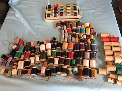 Lot Of 163 Vtg Thread Wooden Spools Assorted Colors Sizes Sewing Crafts
