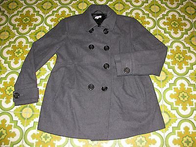 A Pea In The Pod Gray Wool Blend Lined Maternity Pea Coat Jacket Womens Medium M