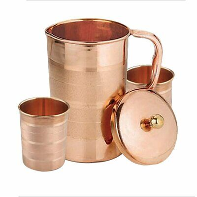 Pure Indian Handmade Copper Pitcher Jug With 2 Glass Cup For Ayurveda Benefits