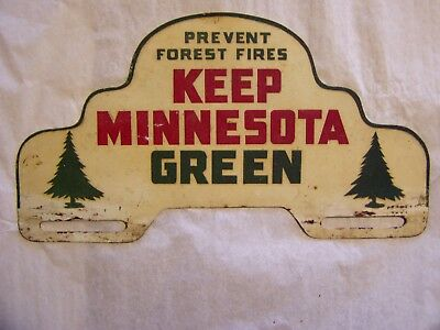 Great Vintage Keep Minnesota Green Tin Automobile License Plate Topper Sign
