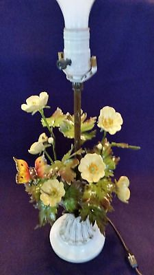 MCM Colorful Mid Century 1950's Italian Toleware Floral and Butterfly Lamp