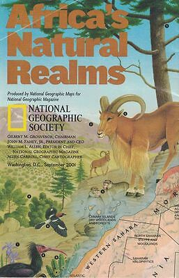 National Geographic Society Africa's Natural Realms Map Sept 2001 Issue