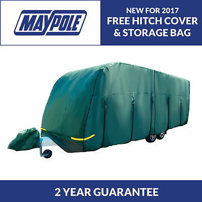 Maypole Premium 4-Ply Breathable Green Full Caravan Cover - Fits 23-25ft MP9536