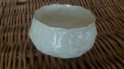 Belleek pottery: Lotus shape sugar bowl. Gilded edge.