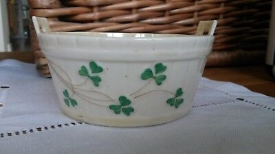 Belleek fine porcelain: Half Barrell shaped dish: Shamrock design