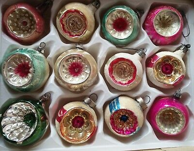 12 Vintage BEAUTIFUL Indent Hand Paint Mercury Glass Christmas Ornaments