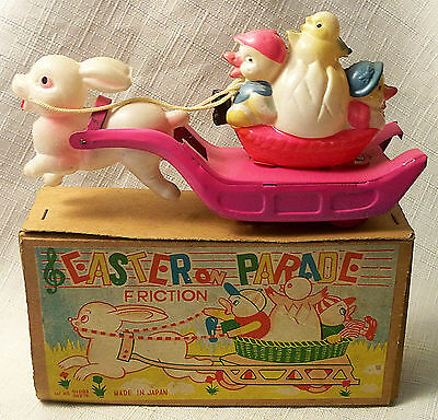 """Vintage Tin Friction Celluloid """"easter Parade"""" Toy Rabbit Ducks Chick Japan Mib"""