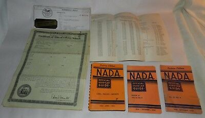 Lot of 5 Vintage Motor Vehicle Titles from the 1950's + other Car Ephemera