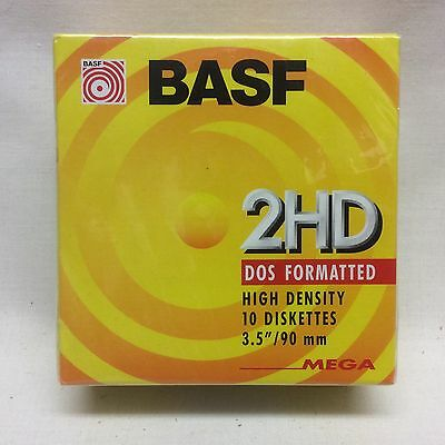 """New Basf 10 Diskettes 3.5""""  2Hd  Dos Formated"""