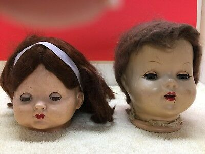 1 Vintage Compo Doll Head and 1 Hard Plastic Doll Head/Creepy Halloween Prop