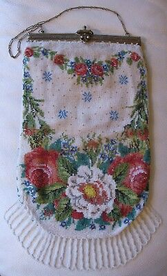 Antique Victorian Crochet Rose Floral French Micro Bead Double Hinge Frame Purse