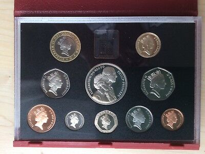 1997 UK Proof Deluxe Coin Set (£5 - 1p) with COA