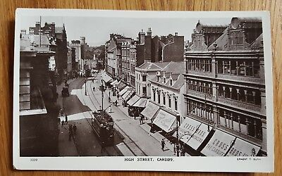 Vintage Photo Postcard High Street Cardiff with Tram