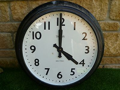 "24"" Diameter Smiths Sectric Large Huge Old Metal Electric Clock Wall Mounted"