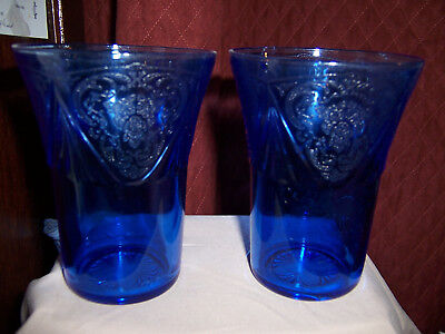 Set 2 Depression Cobalt Blue Royal Lace 8Oz Water Tumblers Glasses