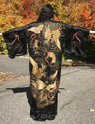 Fantastic 1920's Japan Black Silk Kimono Heavily Detailed Embroidered Dragons