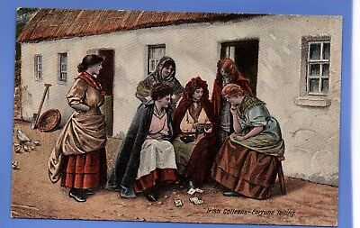 SUPER 1920c IRISH COLLEENS FORTUNE TELLER TELLING PLAYING CARDS POSTCARD