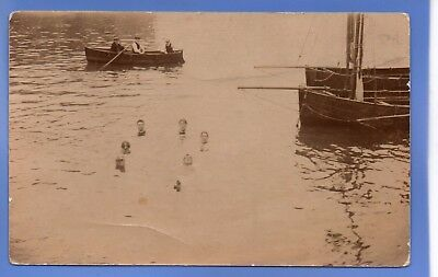 Rare 1913 Swimmers In Lake Ebbw Vale Wales Rp Photo Vintage Postcard