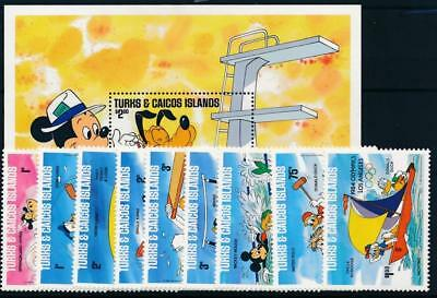 [108248] Turks & Caicos 1984 Walt Disney Olympics Good sheet+set VF MNH stamps