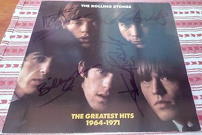 Rolling Stones Autographs on Signed 12 inch promo poster greatest hits 1964-71