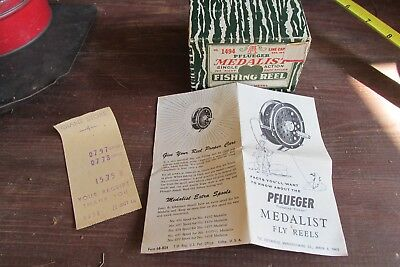 Vintage Pflueger Medalist 1494  Fishing Reel Box W/ Papers BOX AND PAPERS ONLY