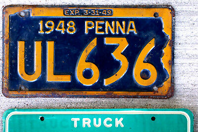 1948 Orange on Blue Pennsylvania License Plate