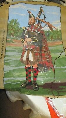 Pre Printed Cross Stitch/embroidery Bagpipe Player Cotton Cloth
