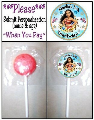 24 Moana Birthday Party or Baby Shower Lollipop Stickers Favors Princess Ocean