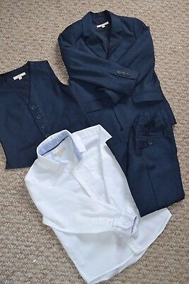 Lovely John Lewis Boys 3-Piece Navy Suit & White Shirt 4-5 Years EUC Worn Once