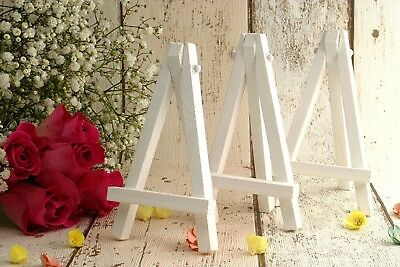 13 White mini easels for wedding name place