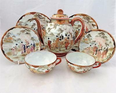 Antique Japanese Kutani Eggshell Porcelain Part Teaset Hand Painted c 1900 7 pce