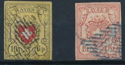 [37980] Switzerland 1850/52 Two good classical stamps Fine/VF used