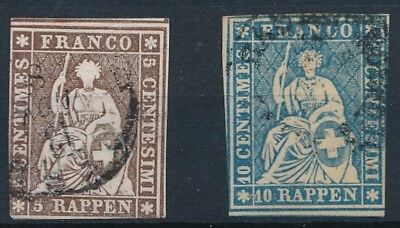 [37994] Switzerland 1854/62 Two good classical stamps Very Fine used