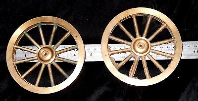 A Pair Of Cast Brass Or Gunmetal Wheels, Part Machined, Model Gun Carriage Maybe