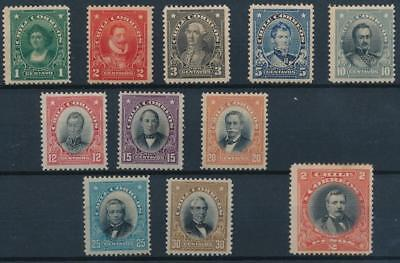 [38075] Chile 1911 Good lot of Very Fine Mint no gum stamps