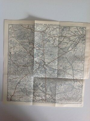 Lyndhurst And Surroundings, 1914,  Antique Map, Bartholomew, Original
