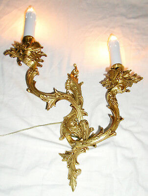 Antike Barock Wandlampe Leuchter Applike Gold Messing Guß Antik `1930