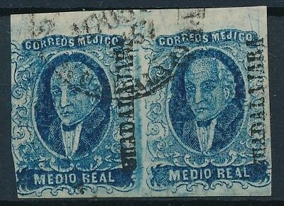 [38406] Mexico 1856 Good classical pair Very Fine used stamps