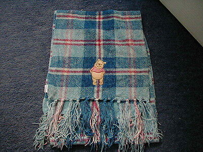 Disney Store Winnie The Pooh Blue Embroidered Check Scarf Brand New Very Rare
