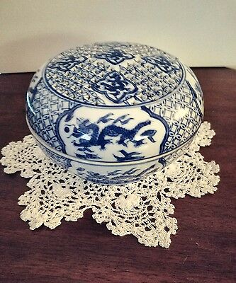 Chinese Blue & White Porcelain Round Box Pierced Lid Cover 6 Character Mark