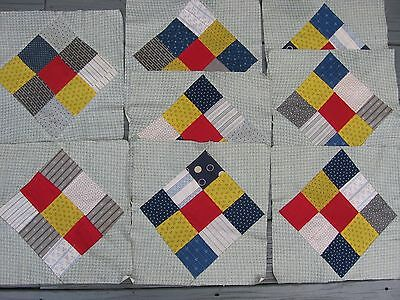~ Lot of 8 Antique Hand Pieced Nine Patch Quilt Squares ~