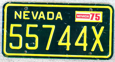 Incused Yellow on Green Nevada License Plate with a 1975 Sticker