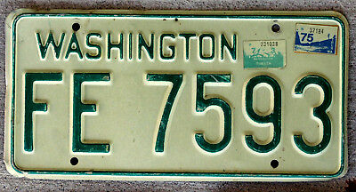 Classic Green on White Washington License Plate with 1973 and 1975 Stickers