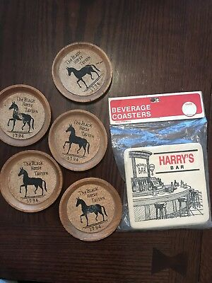 Vintage Beverage Coasters Harry's Bar Black Horse Tavern