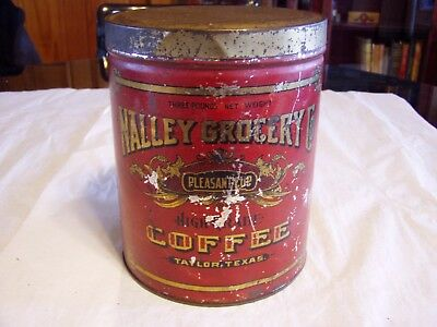 Vintage Nalley Grocery Co Coffee Taylor Texas Advertising 3 Pound Tin Can