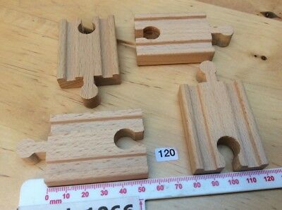 4 x Tiny (5cm) Straight Tracks - Wooden Train Track (BRIO, Thomas etc)