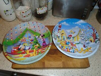 Disney Christmas Round Metal Nibbles Dishes / Trays X 2