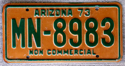 1973 Green on Tan Arizona Non Commercial License Plate