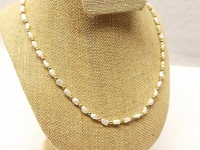"""Vtg 14K Gold Bead Baroque Pearl Necklace Strand 18"""" Cultured Pearl Estate Lovely"""