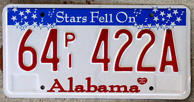 The Stars Fell on Alabama License Plate EMBOSSED Version